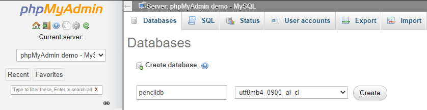 create MySQL database without SQL command in phpMyAdmin